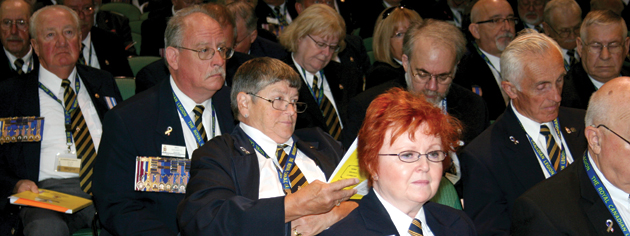 Delegates participate in a business session at the Winnipeg Convention Centre. [PHOTO: JENNIFER MORSE]