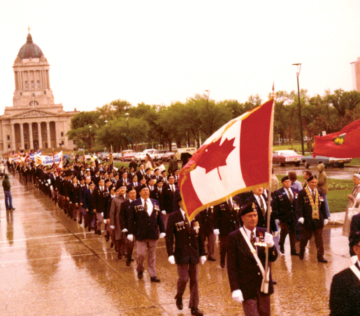 More than 5,000 Legionnaires march during the Golden Anniversary dominion convention in 1976. [PHOTO: LEGION MAGAZINE ARCHIVES]
