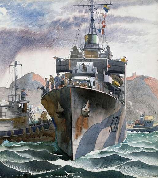 St. John's, Nfld.,  Arrival of Escort Frigate Wentworth, October 1944. [CANADIAN WAR MUSEUM: AN19850391-043]