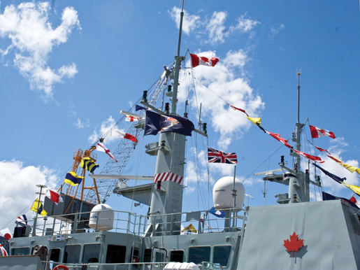 HMCS Glace Bay (2nd) is decked out in flags. [PHOTO: TOM MacGREGOR]