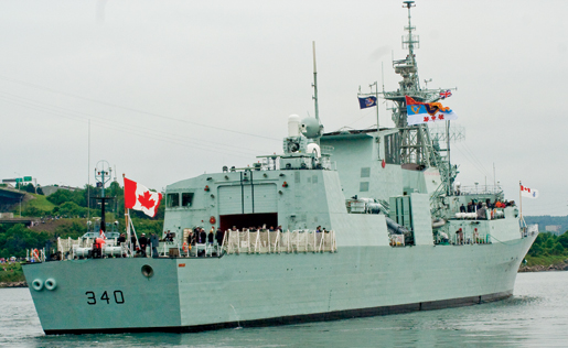 HMCS St. John's departs with the royal party for the review. [PHOTO: TOM MacGREGOR]
