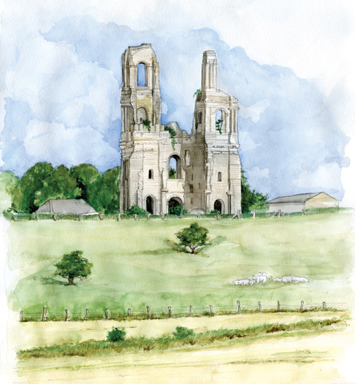 The grey and silent ruins of the abbey at Mont St. Eloi near Vimy Ridge. [ILLUSTRATION: JENNIFER MORSE]