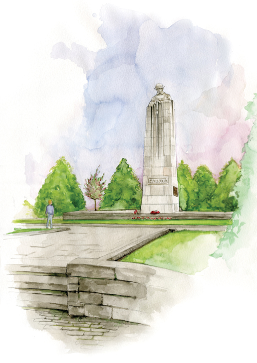 The impressive St. Julien Memorial stands where Canadians died during the first gas attacks of the First World War. [ILLUSTRATION: JENNIFER MORSE]