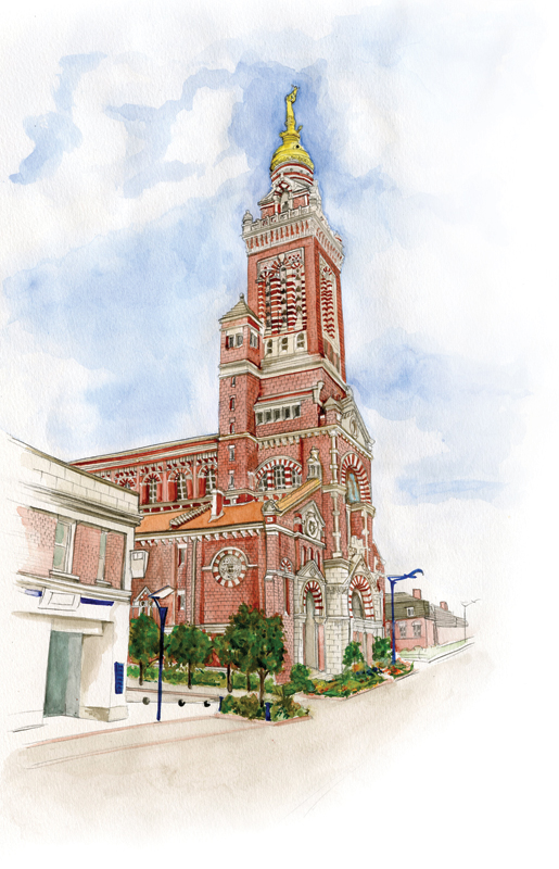The beautifully restored basilica—with her golden statue—in Albert, France. [ILLUSTRATION: JENNIFER MORSE]