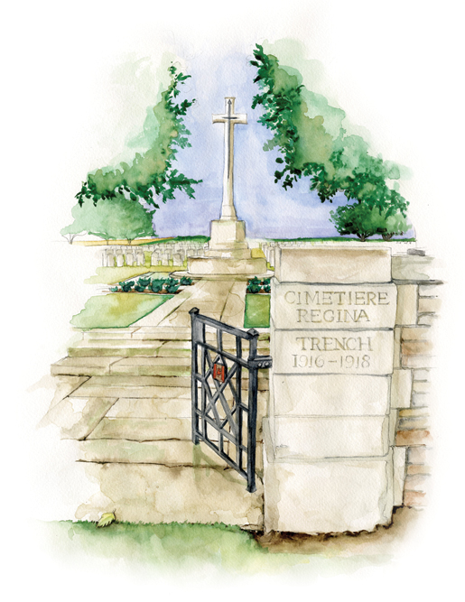 The Regina Trench Cemetery is located in a now-peaceful field overlooking the village of Grandcourt, France. [ILLUSTRATION: JENNIFER MORSE]