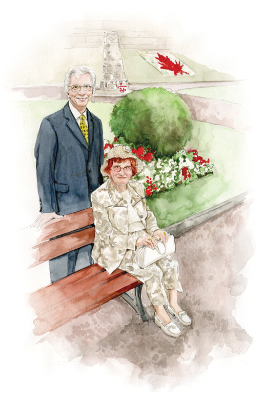 Veterans Affairs Minister Jean-Pierre Blackburn says hello to Madame Monique Bourgois during a visit to the Canada-Dieppe Memorial. [ILLUSTRATION: JENNIFER MORSE]
