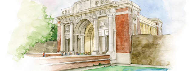 The Menin Gate Memorial commemorates the nearly 55,000 British Commonwealth soldiers who died in Belgium and have no known grave. [ILLUSTRATION: JENNIFER MORSE]