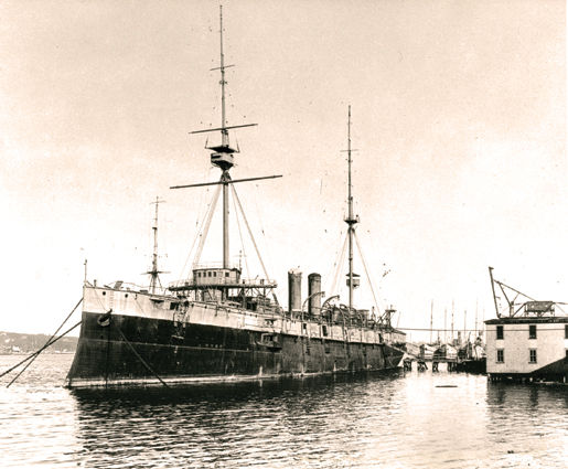 HMCS Niobe was commissioned in the Canadian Navy on Sept. 6, 1910. This photo was taken after her conversion to depot ship. [PHOTO: LIBRARY AND ARCHIVES CANADA—PA209548]