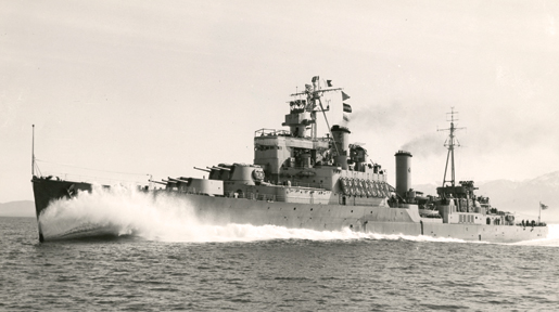 The cruiser HMCS Uganda was renamed HMCS Quebec in January 1952. [PHOTO: LEGION MAGAZINE ARCHIVES]