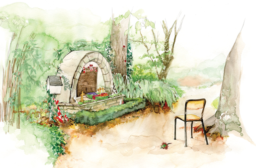 A wreath and  20 maple leaves adorn the memorial in  the garden at the Abbaye d'Ardenne. [ILLUSTRATION: JENNIFER MORSE]