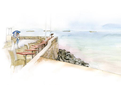 A couple saunters along a rain-soaked promenade at Arromanches, France. In the distance are the remains of large concrete caissons used in the construction of the Mulberry harbour. [ILLUSTRATION: JENNIFER MORSE]
