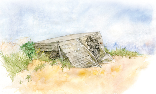 Windswept grass and the sands of time surround a crumbling German bunker on Juno Beach. [ILLUSTRATION: JENNIFER MORSE]