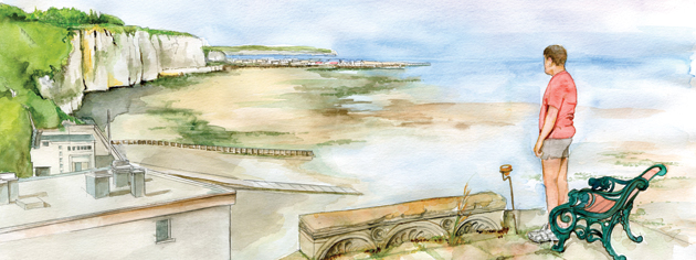 Colonel Jean-Philippe Bonnet's patio atop the bunker at his seaside home affords an excellent view of the beach at Puys, east of Dieppe. The illustration shows the high cliffs looming over a beach with the tide out. [ILLUSTRATION: JENNIFER MORSE]