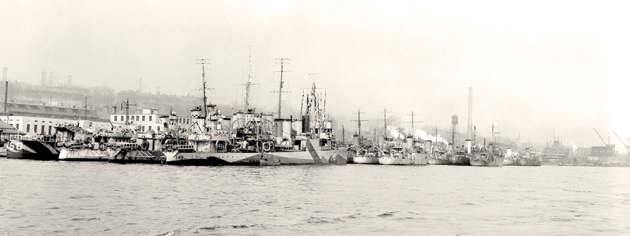 Destroyers, corvettes and minesweepers are among these ships ready for duty out of Halifax, May 1942. [PHOTO: LIBRARY AND ARCHIVES CANADA—PA105897]