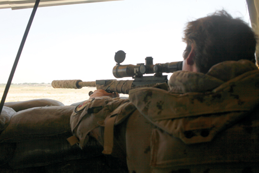 In the tower for a sniper duel. [PHOTO: ADAM DAY]
