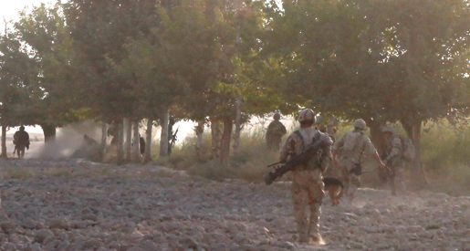 The IED explosion that wounded Corporal Troy Carleton. [PHOTO: ADAM DAY]