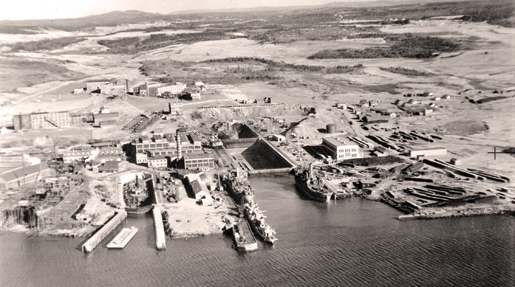 An aerial view of the  Saint John shipbuilding and dry dock  facilities, December 1942. [PHOTO: LIBRARY AND ARCHIVES CANADA—PA197028]