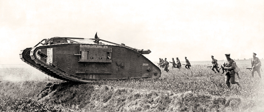 Canadian infantry follow a British-made tank into battle during the First World War. The behemoths were first introduced to the battlefield on Sept. 15, 1916. [PHOTO: LEGION MAGAZINE ARCHIVES]