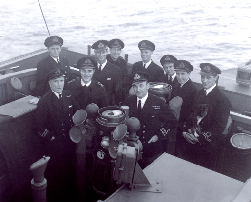 Officers on the frigate HMCS MATANE. [PHOTO: LIBRARY AND ARCHIVES CANADA PA-176234]