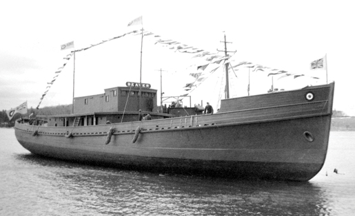 The RCAF supply vessel Beaver was launched in 1942. [PHOTO: COURTESY HUGH A. HALLIDAY]