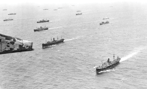 An aerial view of merchant ships gives an indication of the large sea area covered by a convoy. [PHOTO: LIBRARY AND ARCHIVES CANADA—WRN445]