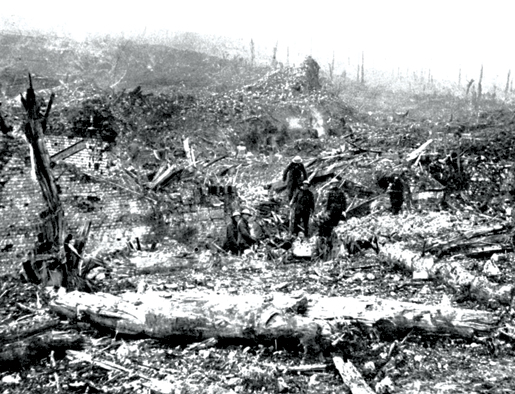 Troops among the ruins of Beaumont Hamel after its capture. [PHOTO: THE ROOMS, NEWFOUNDLAND & LABRADOR PROVINCIAL ARCHIVES DIVISION—VA36-38.2]