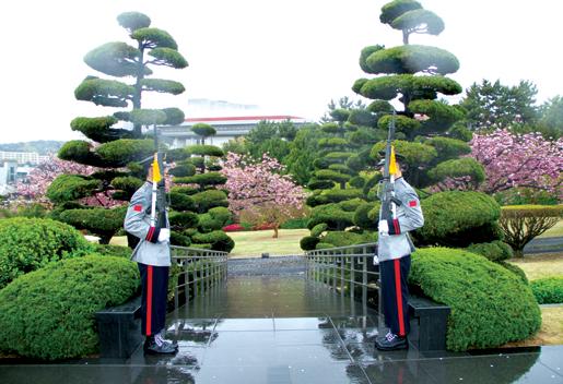 South Korean sentries at the United Nations Memorial Cemetery, Busan. [PHOTO: DAN BLACK]