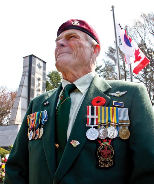 Korean War veteran Frank Boe of Powell River, B.C., studies the hills near the Canadian monument at Kapyong. [PHOTO: DAN BLACK]