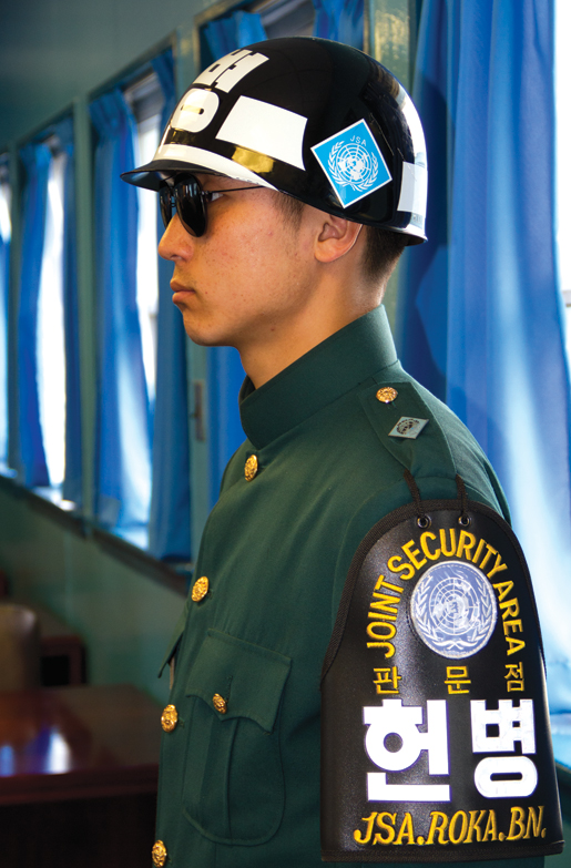 A South Korean soldier stands guard in the Joint Security Area. [PHOTO: DAN BLACK]