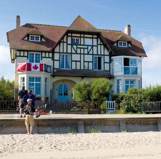 The landmark house on Juno Beach pays tribute to the Queen's Own Rifles of Canada. [PHOTO: TOM MacGREGOR]