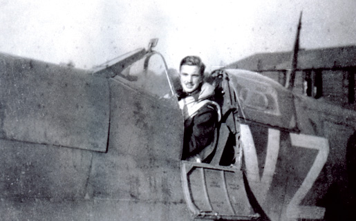 P/O John G. Magee in Vickers-Supermarine Spitfire Vb aircraft of No. 412 (Falcon) Squadron, RCAF