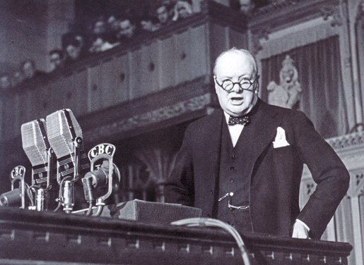 Winston Churchill addressing the House of Commons.