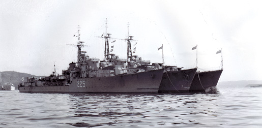 Destroyers of the Royal Canadian Navy serving with the United Nations in Korea.