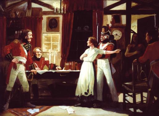Meeting between Laura Secord and Lieut. James FitzGibbon.
