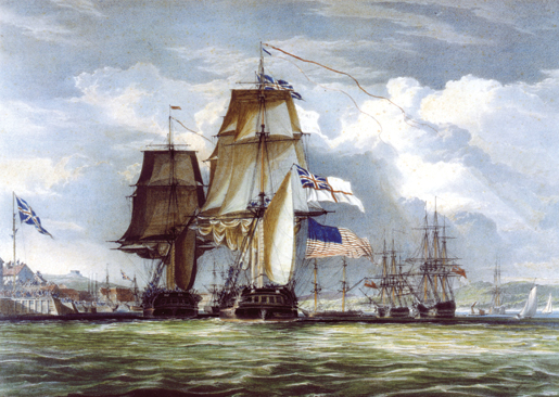 HMS Shannon leading her prize, the USS Chesapeake, into Halifax Harbour.