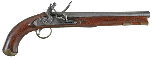 American muzzle-loading flintlock pistol
