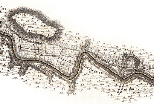 [SKETCH OF THE BATTLE OF LA FOURCHE OR CHÂTEAUGUAY (DETAIL), COURTESY CANADIAN WAR MUSEUM – 19890084-034]