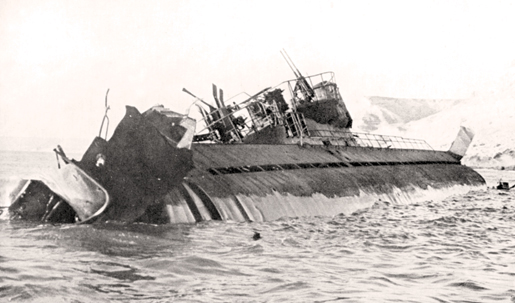 A severely damaged U-852 off the Somali coast, May 1944. [PHOTO: THE NATIONAL ARCHIVES/HERITAGE IMAGES]