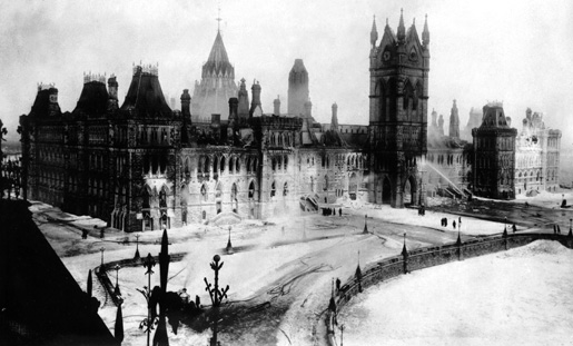 Fire at the Parliament Buildings in Ottawa.