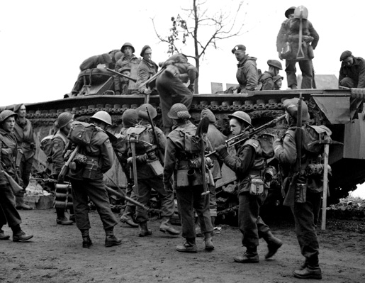 Infrantrymen of the North Shore Regiment during Operation Veritable.
