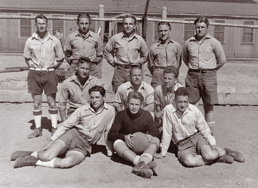A German PoW soccer team. [PHOTO: KURT GUNZEL, CANADIAN WAR MUSEUM—20070070-047]