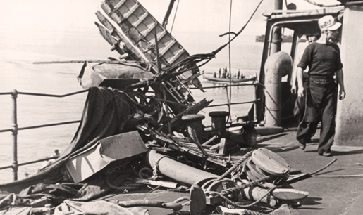 Evidence of a torpedo hit on SS Frederika, July 1942. [PHOTO: NAVAL MUSEUM OF QUEBEC]