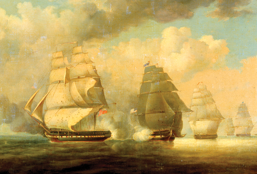 The Escape of HMS Belvidera. [ILLUSTRATION: NATIONAL MARITIME MUSEUM, GREENWICH, LONDON—BHC0598]
