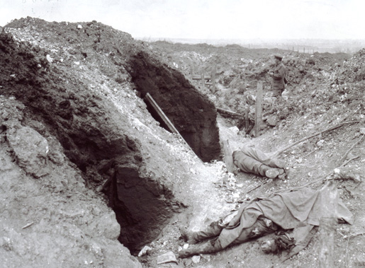 German trenches demolished by artillery fire, Battle of Mount Sorrel, Belgium.