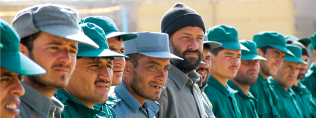 Afghan recruits line up for training.