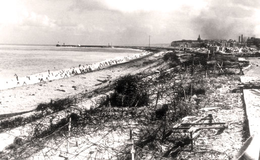 The beach after the raid. [PHOTO: LEGION MAGAZINE ARCHIVES]