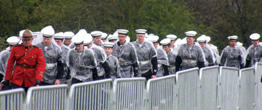 Cadets march towards the Vimy Memorial.