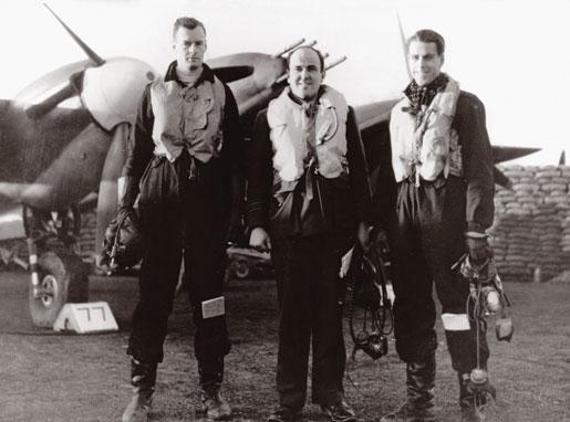 Flight Lieutenant David Crooks (left) with Squadron Leader John Munro and Flt. Lt. Patrick Thomas Pugh, January 1941. [PHOTO: COURTESY KEVIN MELDRUM]