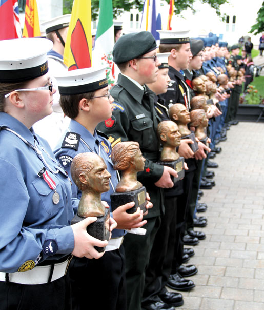 Cadets  with busts of the Queen and the Duke of Edinburgh  for provincial commands. [PHOTO: JENNIFER MORSE]