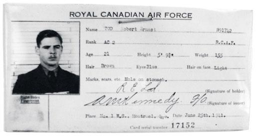 An identity card for Sgt. Robert Ernest Tod. [PHOTO: HUGH A. HALLIDAY]